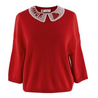 Valentino Red Cashmere Jumper with L'Amour Embellished Collar