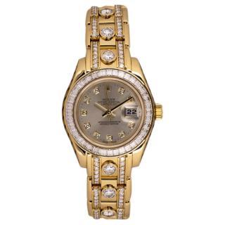 Rolex 18kt Yellow Gold Diamond Set Pearlmaster Datejust Watch 29mm