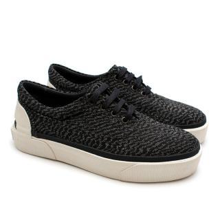 Lanvin Navy Jacquard Canvas Platform Sneakers