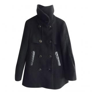 Mackage Black Wool Leather Trimmed Coat