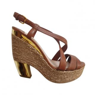 Miu Miu Brown Leather Jute Platform Wedges