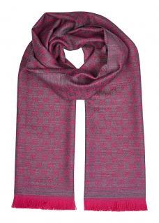 Gucci red & blue metallic wool blend jacquard scarf