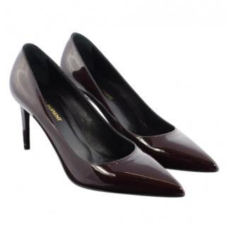 Saint Laurent burgundy patent leather pointed pumps
