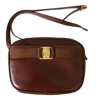 Salvatore Ferragamo vintage brown leather crossbody bag