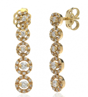 Bucherer Yellow Gold Diamond Droplet Earrings