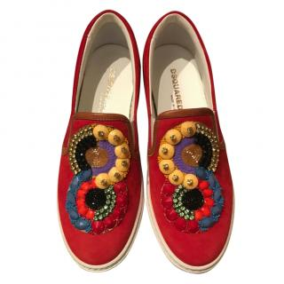 DSquared red embellished suede slip-on trainers