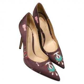 Gianvito Rossi x Mary Katrantzou pattern cloth pointed pumps