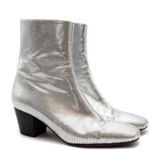 Dorateymur Heeled Silver Textured Ankle Boots