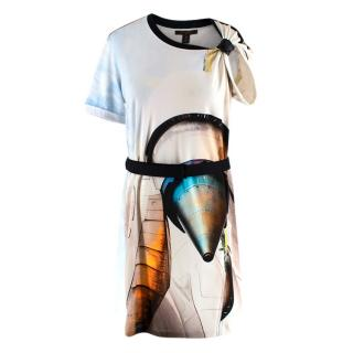 Louis Vuitton Futuristic 3D Printed Buckle Belted T-Shirt Dress