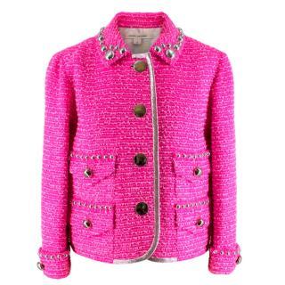 Marc Jacobs Pink Tweed Embellished Tailored Jacket