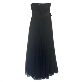 Christian Dior Black Silk Strapless Gown
