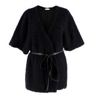 Saint Laurent Black Mohair Belted Jacket