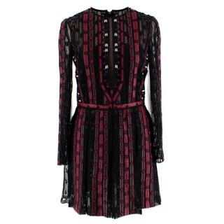 Valentino Black & Red Leather & Tulle Illusion Embroidered Dress