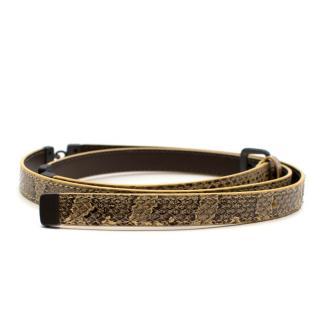 Bottega Veneta Snakeskin Skinny Intrecciato Link Belt