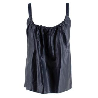 Helmut Lang Leather Ruched Apron Tie Top