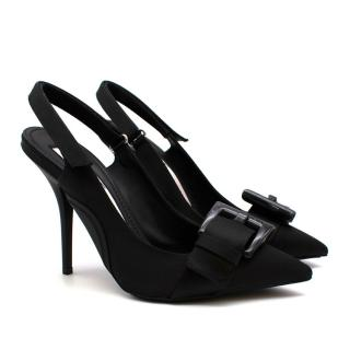 No.21 Black Buckle Detail Slingback Stiletto Sandals