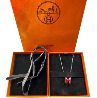 Hermes Pop H red palladium plated pendant necklace