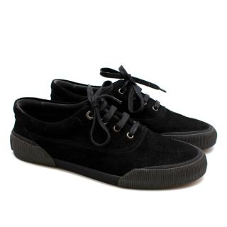 Lanvin Suede Black Low-Top Sneakers