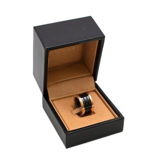 Bvlgari B.Zero1 Black & Rose Gold Enamel Ring