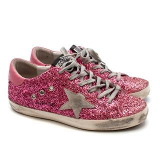 Golden Goose Deluxe Brand Superstar Trainers in Pink Glitter