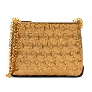 Christian Louboutin Gold Textured Triloubi Bag