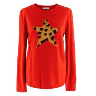Bella Freud Red Wool Blend Star Jumper