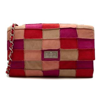 Chanel Vintage Red and Pink Suede Reissue Patchwork Flap Bag
