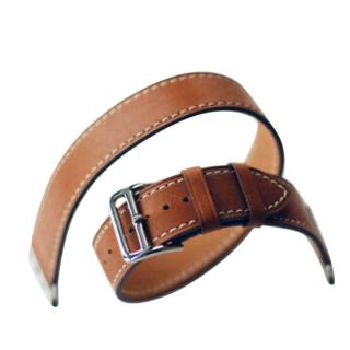 Hermes Fauve Barenia Leather Double Tour 40mm Apple Watch Strap
