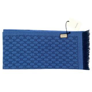 Gucci blue Logo Print Reversible scarf