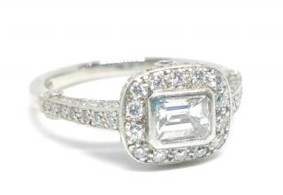 E Wolfe & Co flawless emerald cut diamond ring