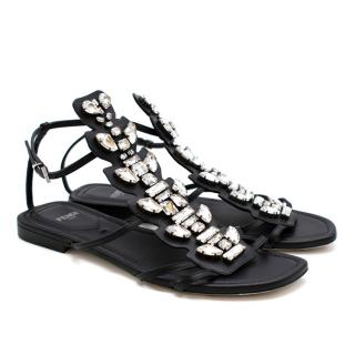 Fendi Black Ava Crystal Sandals