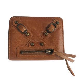 Balenciaga Tan City Zip Compact Wallet