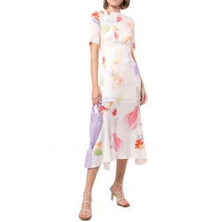 Peter Pilotto Ivory Silk Floral Midi Dress