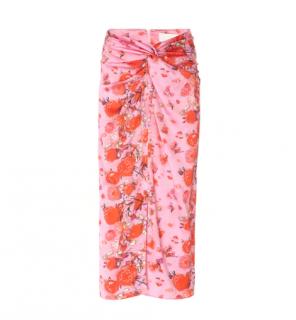 Peter Pilotto Printed Silk Twist Skirt In Pink