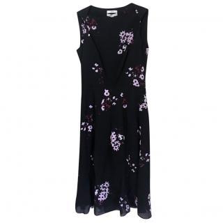 Erdem Black Nocturne Print Crepe Dress