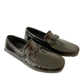 Ferragamo Black Patent Moccasin Loafers