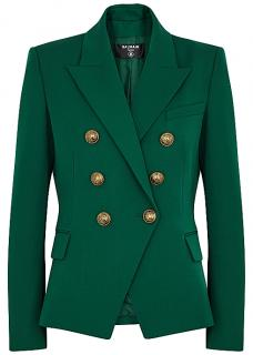 Balmain green wool double breasted blazer