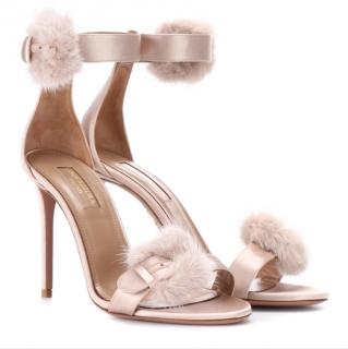 Aquazzura Sinatra Fur-Trimmed 105mm Sandals