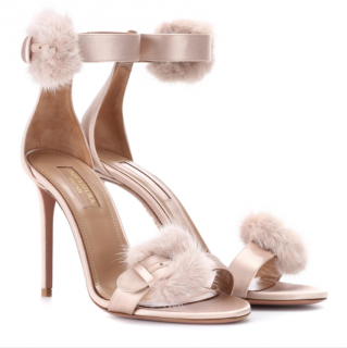 Aquazzura Sinatra Fur-Trimmed 105mm Sandals