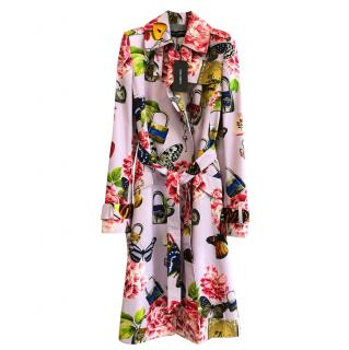 Dolce & Gabbana Pink Butterfly & Padlock Print Trench Coat