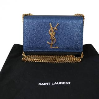 Saint Laurent blue mini classic monogram Kate bag