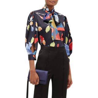 Peter Pilotto Floral-print silk-blend seersucker blouse