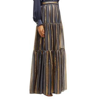 Peter Pilotto Metallic Striped Chiffon Maxi Skirt