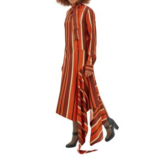 Mulberry orange and tan striped Victoria Dress