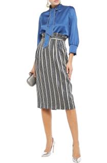 Peter Pilotto Pleated metallic striped jacquard pencil skirt