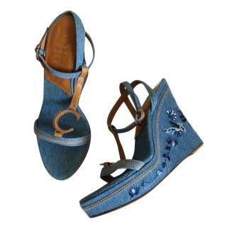 Dior vintage Galliano denim butterfly wedge sandals