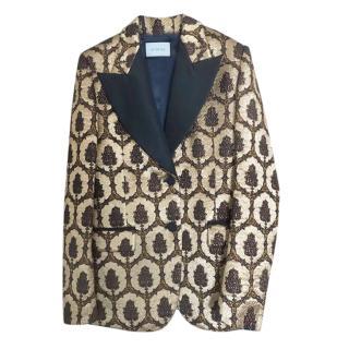 Gucci gold lurex jacquard tux blazer/jacket