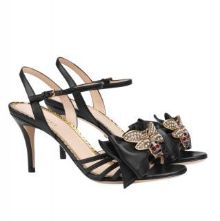 Gucci black bee detail Queen Margaret sandals