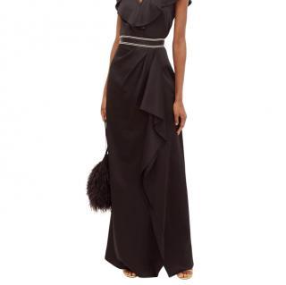 Peter Pilotto Embroidered-waistband draped satin skirt