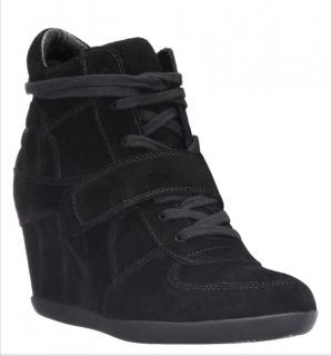 Ash black wedge suede trainers